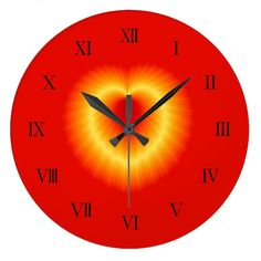 Golden Heart Wall Clock http://www.zazzle.com/htgraphicdesigner* #zazzle #wall #clock #wallclock #red #heart #valentinesday #love #modern
