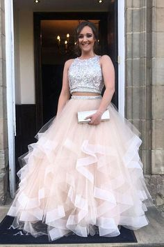 Sparkly Two Piece Long Prom Dress with Open Back, Sequined Tulle Party Dresses N1244