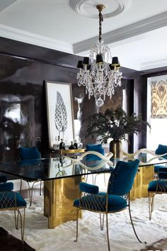 Black and Gold Dining Room Ideas. 46 Awesome Black and Gold Dining Room Ideas Ideas. Cool Gifts for the aspiring Interior Designer Dining Room Light Fixtures, Dining Room Walls, Dining Room Lighting, Dining Room Design, Dining Room Furniture, Library Lighting, Room Chairs, Office Furniture, Elle Decor