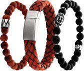 Frank 1967 7FR SET001 Armbanden Set Rood - 3 Stuks - Hout, Leer en Natuursteen - One-size - Rood / Zwart Bracelets, Jewelry, Jewels, Schmuck, Jewerly, Bracelet, Jewelery, Jewlery, Bangles