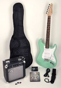 SX RST SGN Electric Guitar Package Surf Green w/Free Amp, Carry Bag, Strap and Instructional DVD. A Great Guitar Package at an unbelievable price!. Package includes everything you need to start playing: Guitar, Guitar Amp, Guitar Tuner, Instructional DVD, Guitar Bag, Strap, and Cable!. Perfect for many musical styles including rock, jazz, blues and Christian. The body is contoured for hours of comfortable play, and the dual cutaway shape allows access to the highest frets. SX RST full…