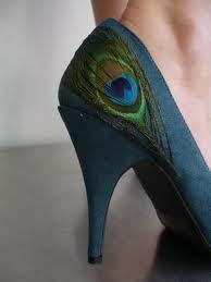 Peacock shoe needs an all-black dress and an updo