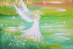 """Limited angel art poster """"I go everywhere with you"""", modern contemporary angel painting, artwork, print, glossy photo,"""