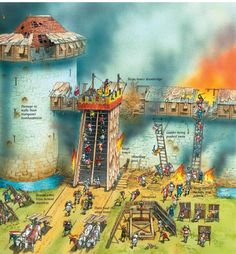 A siege tower is pulled up to the castle walls.