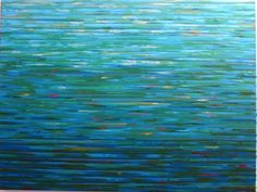 deep blue, lighter blue and more variations of blue create this gorgeous artwork by Barbara Kolo: Study for Adrift - Acrylic on Canvas