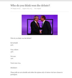Tony Abbott Buying Votes in Online Polls And Likes on Facebook, And Followers on Twitter. Screenshot of the Age, Melbourne, Australia newspaper at 10 mins after the debate. 624 Votes. Click pic to see the poll 2 hours afterwards. 29,000+ VOTES!