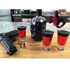 DEADPOOL SHOTS 1 oz. (30ml) Strawberry Vodka 2 oz. (60ml) Strawberry Liqueur 1 oz. (30ml) Grenadine  Top with Black Absinthe