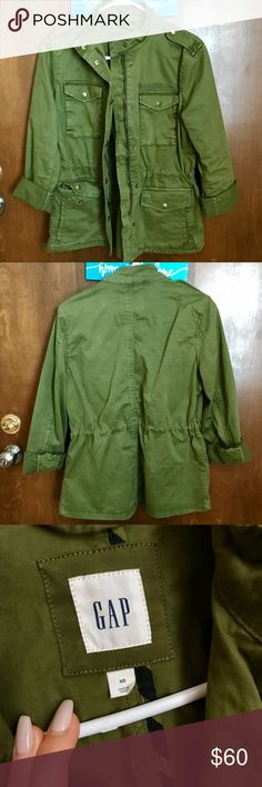 Army jacket Only worn twice! Nice bright army green color!! Multiple pockets and a tie at the waist. Such a stylish piece 😁 GAP Jackets & Coats