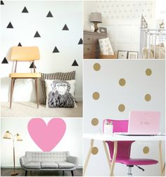 Statement Walls- I thought these were so cute! Maybe not for a whole main wall- but they could be cute in a small nook. Bebe Love, Statement Wall, Wall Treatments, Fashion Room, Nook, Interior And Exterior, Organization, Organizing, Kids Room