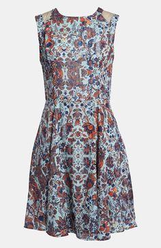 ASTR Mesh Mixed Print Dress