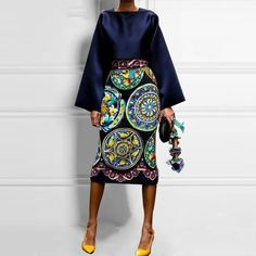 2019 Vintage Printed Long-Sleeved Mid-Length Skirt Suit Summer And Autumn New Fashion Temperament Silky Fabric Comfortable Flare Size S Color Navy Blue Elegant Summer Dresses, Mode Steampunk, Mid Length Skirts, Flare, Skirt Suit, Cheap Dresses, Women's Dresses, Fashion Dresses, Vintage Prints