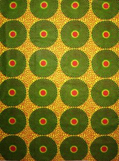 African Fabric 1/2 Yard Cotton Wax Print GREEN RED by kame79
