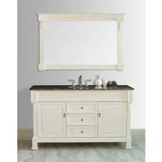 Galaxy 60-inch Cream/ Baltic Brown Single Sink Vanity with Mirror
