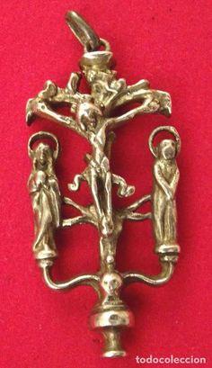 Medalla plata siglo XVIII . Crucifixión, calvario - Foto 1