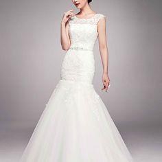 Trumpet/Mermaid Jewel Sweep/Brush Train Lace Wedding Dress – USD $ 239.99