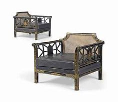 A PAIR OF ENGLISH BLACK-JAPANNED ARMCHAIRS