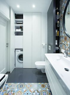 Little shower room concepts to optimize your tiny space. Although with a tiny si… Little shower room concepts to optimize your tiny space. Although with a tiny size we will … Laundry Bathroom Combo, Small Bathroom Cabinets, Modern Laundry Rooms, Laundry Room Bathroom, Bathroom Toilets, Bathroom Layout, Bathroom Interior Design, Bathroom Storage, Bathroom Ideas