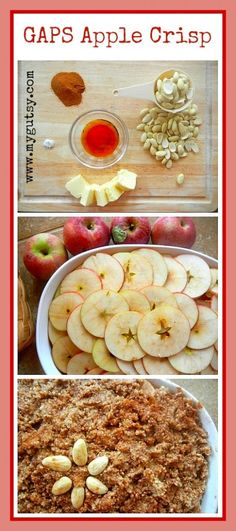 GAPS Apple Crisp added extra cinnamon and pumpkin spice to apples. Mix in raisins and bananas. Topping add extra stevia and coconut butter, also chopped pecans and walnuts.