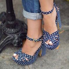 Shoespie Blue Dots Decorated Platform Sandals
