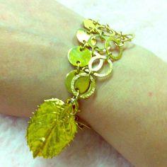 Gold 3 chain bracelet w leaf Gold toned 3 chain bracelet with gold leaf Jewelry Bracelets