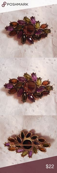 "Stunning Monet Vintage Rhinestone Brooch Pin GORGEOUS RHINESTONE BROOCH DESIGNER SIGNED MONET WITH SHIMMERING RHINESTONES IN PURPLE, OLIVE GREEN, & AMBER SO STUNNING!!!! MEASURES  2 5/16"" X  1 7/16"" REALLY CAPTURES THE LIGHT!!!!! TRULY MAGNIFICENT!!!!! IN EXCELLENT CONDITION Monet Jewelry Brooches"