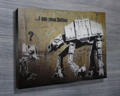 BANKSY STAR WARS PRINT $26.00–$741.00 The artwork known as 'I am your father' created by the infamous street artist is featured in this Star Wars banky canvas print. As with all art on this site, we offer these prints as stretched canvas prints, framed print, rolled or paper print or wall stickers / decals. http://www.canvasprintsaustralia.net.au/  #PhotosoncanvasAustralia #Stretchedcanvas #Gicleeprint