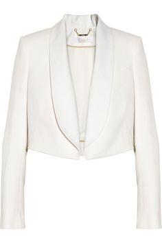 Chloé|Cropped crepe and twill blazer|NET-A-PORTER.COM