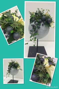 Heerlijk bloemstuk gemaakt met een piepschuim bol en kaarsenvet