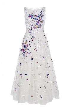 Sleeveless Floral Applique Dress by Georges Hobeika White A Line Dress, White Sleeveless Dress, White Floral Dress, Floral Evening Dresses, White Evening Gowns, Floral Dresses, After Wedding Dress, Wedding Dresses, Floral Applique Dress