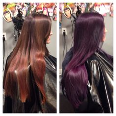Purple hair with pravana vivids violet! Eggplant Colored Hair, Eggplant Hair, Plum Hair, Burgundy Hair, Pastel Hair, Violet Red Hair Color, Purple Hair, Hair Colors, Fall Hair Trends