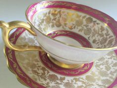 Raspberry Paragon Tea Cup and Saucer Antique Tea by AprilsLuxuries
