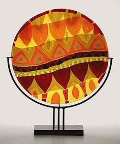 """Serpentine Summer"" Art Glass Sculpture Created by Lynn Latimer Glass Wall Art, Fused Glass Art, Mosaic Glass, Stained Glass, Slumped Glass, Kiln Formed Glass, Art Object, Summer Art, Colored Glass"