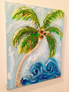 Swirly Palm Beach Paintings, Tree Paintings, Art Camp, Love Painting, Fun Ideas, Palm Trees, Fun Crafts, Original Artwork, My Arts