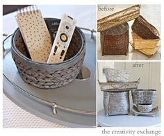 Recipe for transforming old ugly basket with a gray stain wash. Could use this for colors too.  {The Creativity Exchange}