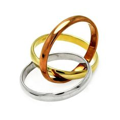 .925 Sterling Silver Tricolor Gold Plated Designer Ring Band 3 Rings in One…