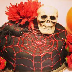 Beautiful Halloween cake! Black and red cake, chocolate cake vanilla Italian buttercream