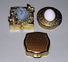 Vintage Pill Boxes - Stratton in Front (England), No Identification on the Other Two Pill Boxes.