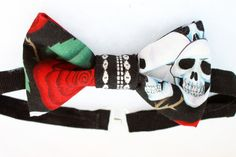 Upcycled Skulls and Roses Bow tie with Striped by Scrapcycling, $25.00