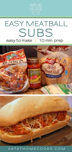 This is the perfect dinner for a busy night! Not only is it quick and simple but it is a dinner your whole family will love! Frugal Meals, Easy Meals, Cooking Recipes, Yummy Recipes, Yummy Food, Meatball Subs, 15 Minute Meals, Food For Thought, Family Meals