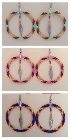 2in Hoops - Pink, Luminous Green & Dark Purple Brick Stitch