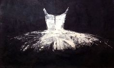 White Tutu on Black - Horizontal | See more Figurative Paintings at http://www.1stdibs.com/art/paintings/figurative-paintings on 1stdibs