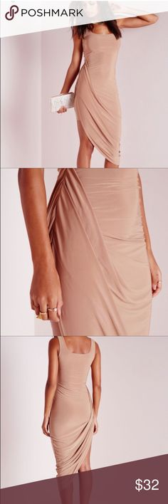 Misguided Nude draped gown Amazing dress! Fits an 8 or 10 perfect for salsa dancing, super dramatic. Missguided Dresses Midi