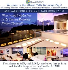 Win 3 Nights FREE in the Tasanee Penthouse, #Phuket #Thailand with www.VillaGetaways.com! Competition starts 21st of September 2012! Click here for details; https://www.facebook.com/Villa.Getaways/app_460884787279484