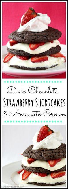 Dark Chocolate Strawberry Shortcakes with Amaretto Cream - an easy strawberry shortcake dessert recipe perfect for spring, summer, or Mother. Cupcake Recipes, Cupcake Cakes, Dessert Recipes, Cupcakes, Fruit Recipes, Brunch Recipes, Recipies, Köstliche Desserts, Delicious Desserts