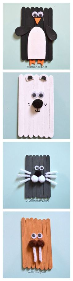 Popsicle sticks Arctic Animal craft for kids #cheapcraftsforkids