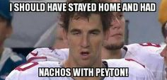 Love Eli, but had to laugh. The amount of crap I get being a giants fan because of his goofy faces X) Nfl Jokes, Funny Football Memes, Funny Nfl, Sports Memes, Football Humor, Soccer Humor, Hilarious, Goofy Face, Nfc North