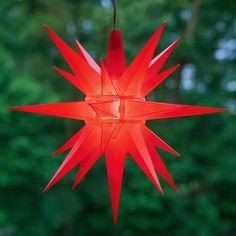 """14"""" Red LED Moravian Star lights."""