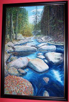 řeka Vydra_60x90_olej_plátno na sololitu_2005 Display, Mountains, Landscape, Portrait, Architecture, Canvas, Water, Artwork, Painting