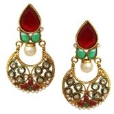 Chand Bali earrings in red and green with pearl polki