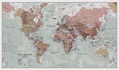 A popular world wall map within our premium map range! With its antique-style muted tones, it looks simply stunning and rather elegant.